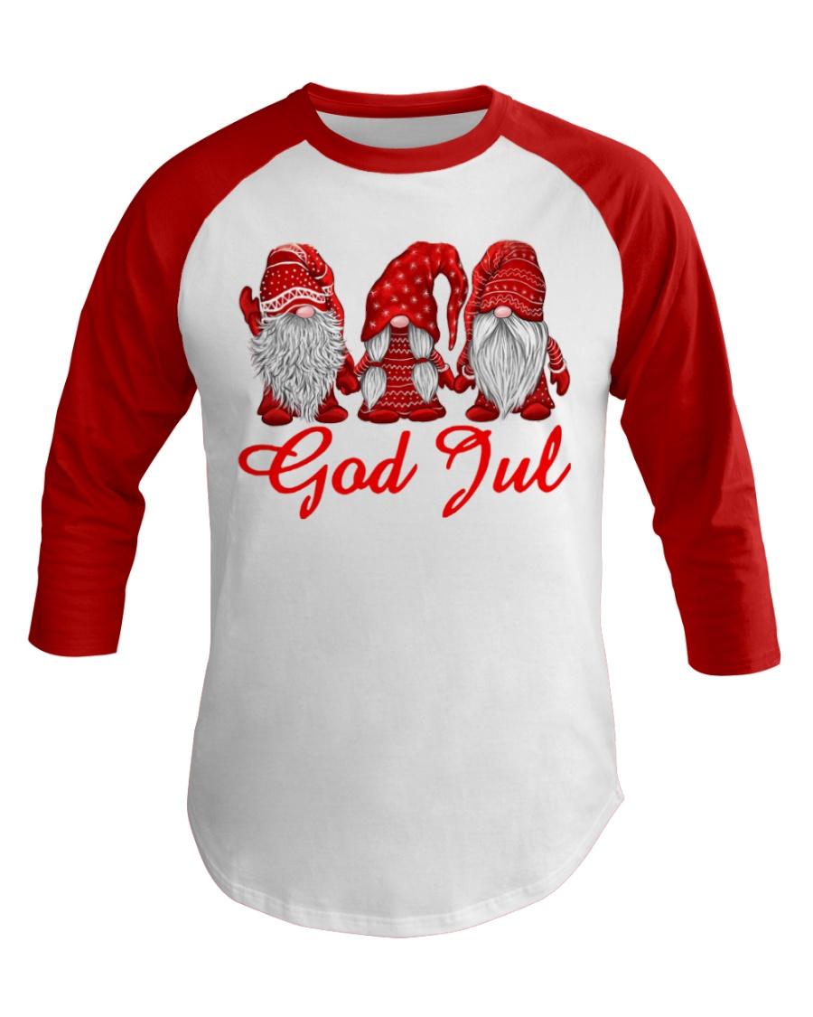 Red Christmas Gnome God Jul shirt Baseball Tee