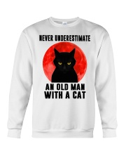 Never underestimate and old man with a cat shirt Crewneck Sweatshirt thumbnail