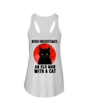 Never underestimate and old man with a cat shirt Ladies Flowy Tank thumbnail