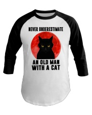 Never underestimate and old man with a cat shirt Baseball Tee thumbnail