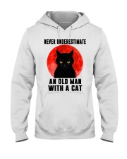 Never underestimate and old man with a cat shirt Hooded Sweatshirt thumbnail