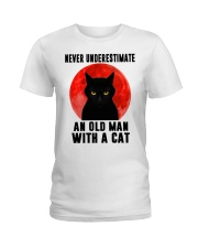 Never underestimate and old man with a cat shirt Ladies T-Shirt thumbnail