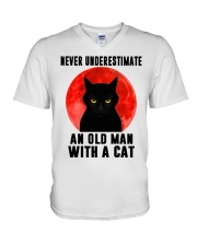 Never underestimate and old man with a cat shirt V-Neck T-Shirt thumbnail
