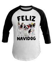 Feliz Navidog French Bulldog Christmas Baseball Tee thumbnail