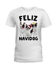 Feliz Navidog French Bulldog Christmas Ladies T-Shirt thumbnail