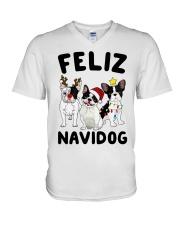 Feliz Navidog French Bulldog Christmas V-Neck T-Shirt thumbnail