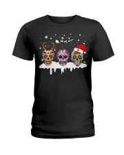 Love Skulls and Tattoos Merry Christmas Ladies T-Shirt thumbnail