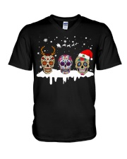 Love Skulls and Tattoos Merry Christmas V-Neck T-Shirt thumbnail