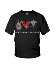 Peace love save lives nurse shirt Youth T-Shirt tile