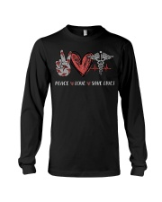 Peace love save lives nurse shirt Long Sleeve Tee tile