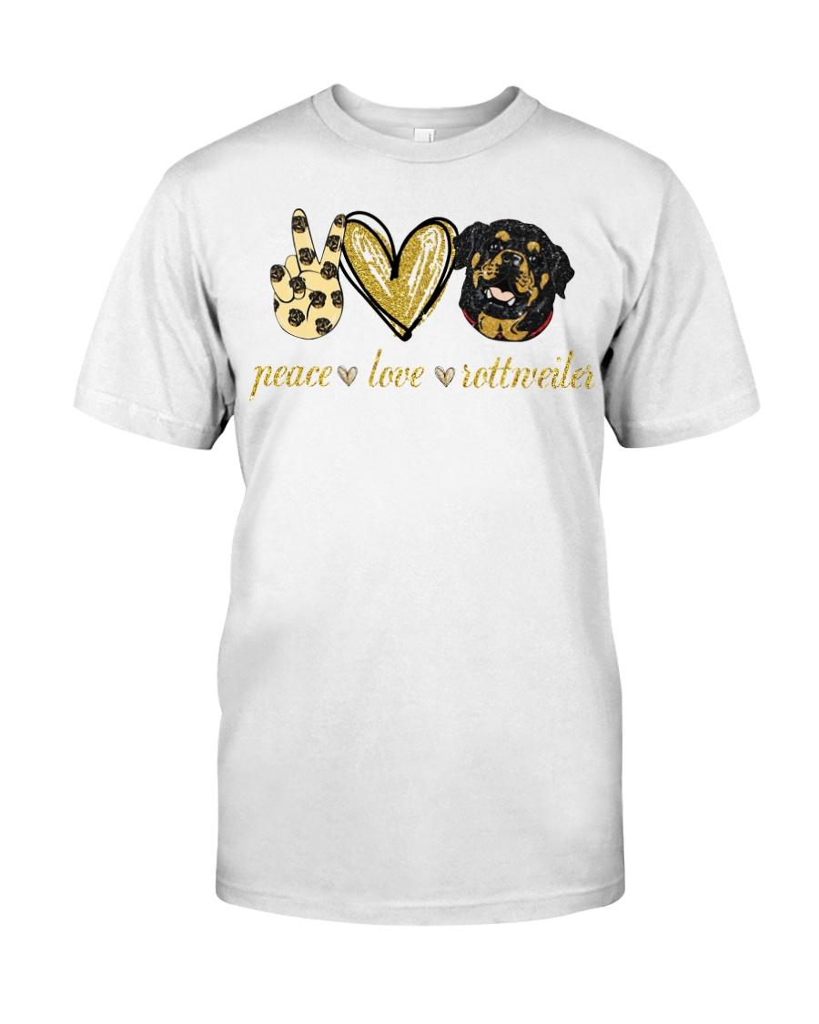 Peace love Rottweiler shirt Classic T-Shirt