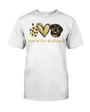 Peace love Rottweiler shirt Classic T-Shirt front
