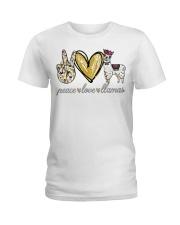 Peace love cure Llamas shirt Ladies T-Shirt thumbnail