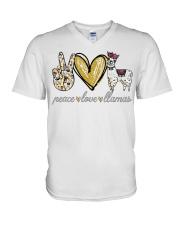 Peace love cure Llamas shirt V-Neck T-Shirt thumbnail