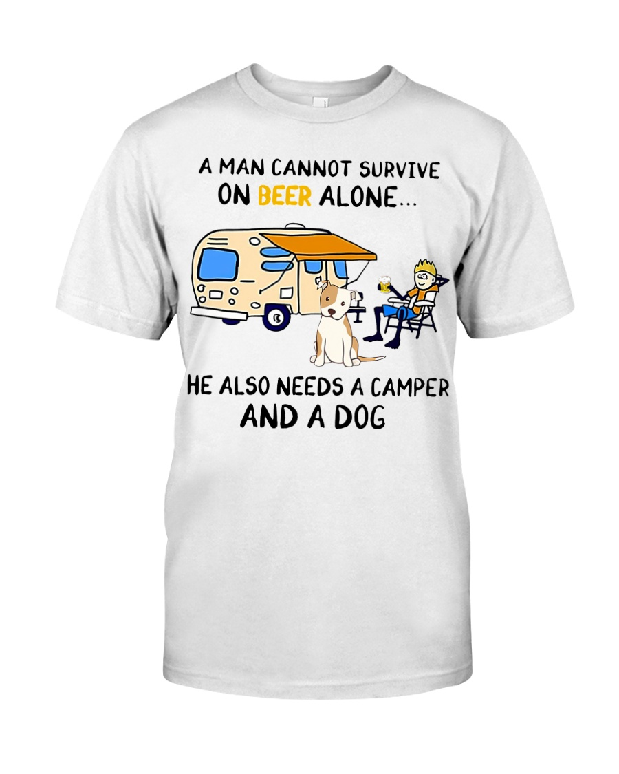 man beer alone he also needs camper and dog Classic T-Shirt