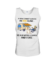 man beer alone he also needs camper and dog Unisex Tank thumbnail