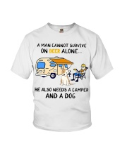 man beer alone he also needs camper and dog Youth T-Shirt thumbnail