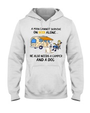 man beer alone he also needs camper and dog Hooded Sweatshirt thumbnail