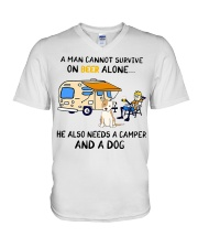 man beer alone he also needs camper and dog V-Neck T-Shirt thumbnail