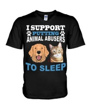 I support putting animal abusers to sleep shirt V-Neck T-Shirt thumbnail