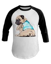 Pug I love mom shirt Baseball Tee thumbnail