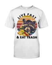 Raccoon Beer Pizza Live Fast And Eat Trash  Classic T-Shirt thumbnail