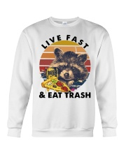 Raccoon Beer Pizza Live Fast And Eat Trash  Crewneck Sweatshirt tile