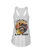 Raccoon Beer Pizza Live Fast And Eat Trash  Ladies Flowy Tank thumbnail
