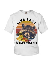 Raccoon Beer Pizza Live Fast And Eat Trash  Youth T-Shirt thumbnail