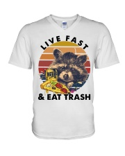 Raccoon Beer Pizza Live Fast And Eat Trash  V-Neck T-Shirt thumbnail