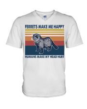 Ferrets make me happy humans make my head hurt V-Neck T-Shirt thumbnail