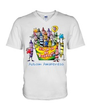Crayon Autism Awareness It's ok to be different  V-Neck T-Shirt thumbnail