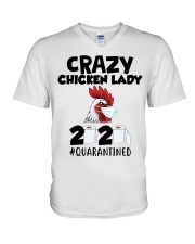 Crazy Chicken lady 2020 quarantined T-shirt V-Neck T-Shirt thumbnail