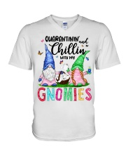 Quarantinin and Chillin with my gnomies T-shirt V-Neck T-Shirt thumbnail
