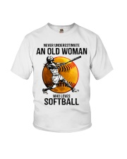 Never underestimate an old woman loves softball Youth T-Shirt thumbnail