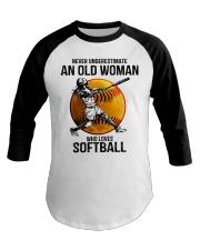 Never underestimate an old woman loves softball Baseball Tee thumbnail