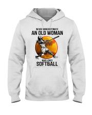 Never underestimate an old woman loves softball Hooded Sweatshirt thumbnail