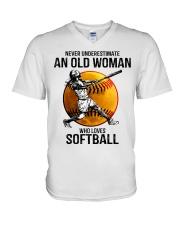 Never underestimate an old woman loves softball V-Neck T-Shirt thumbnail