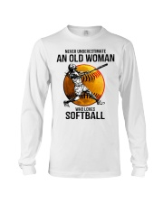 Never underestimate an old woman loves softball Long Sleeve Tee thumbnail