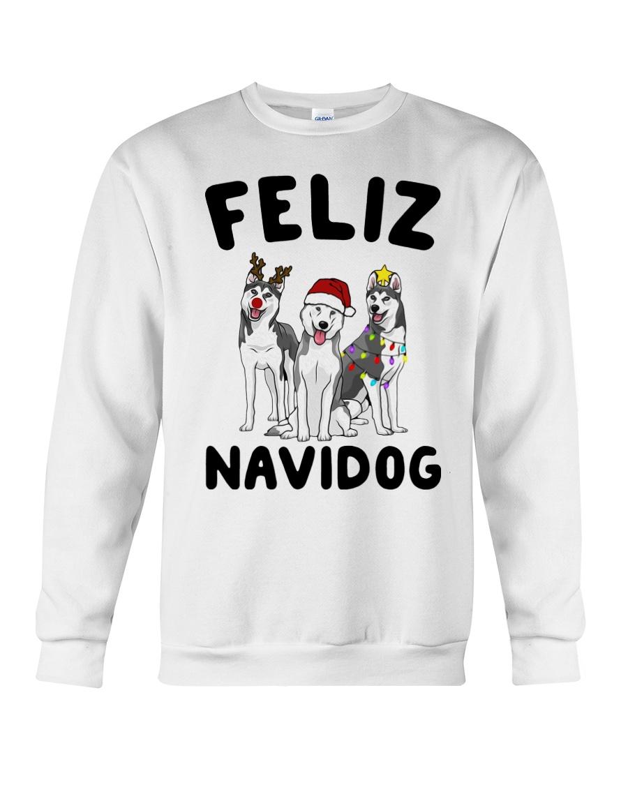 Feliz Navidog Husky Christmas Crewneck Sweatshirt