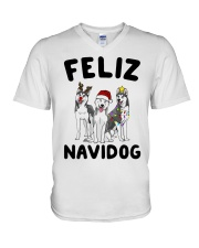 Feliz Navidog Husky Christmas V-Neck T-Shirt thumbnail