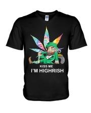 Irish Weed Hippie Kiss me I'm Highrish shirt V-Neck T-Shirt thumbnail