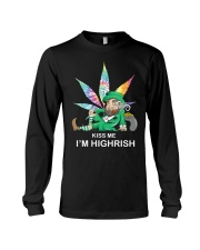 Irish Weed Hippie Kiss me I'm Highrish shirt Long Sleeve Tee thumbnail