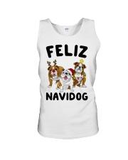 Feliz Navidog Bulldog Dog Christmas Unisex Tank thumbnail