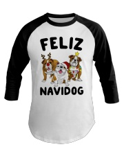 Feliz Navidog Bulldog Dog Christmas Baseball Tee thumbnail