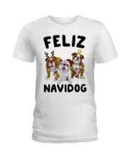 Feliz Navidog Bulldog Dog Christmas Ladies T-Shirt thumbnail