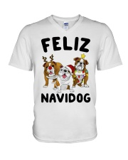 Feliz Navidog Bulldog Dog Christmas V-Neck T-Shirt thumbnail