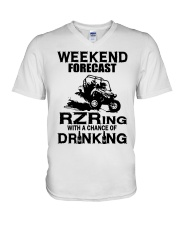 Weekend forecast RZRing with chance of Drinking  V-Neck T-Shirt tile