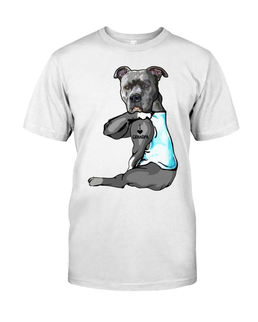 Pitbull tattoo I love Grandpa shirt Classic T-Shirt