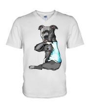 Pitbull tattoo I love Grandpa shirt V-Neck T-Shirt thumbnail